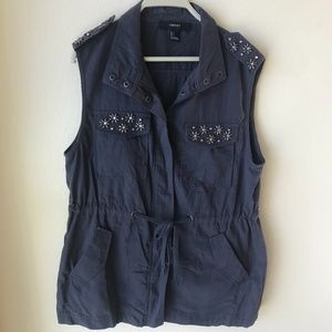 Gray Navy Blue Vest Tunic